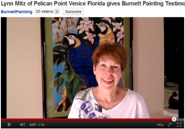 Venice Florida Painting testimonial for Burnett Paitning Mitz