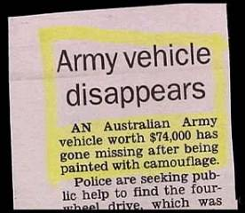 Army vehicle disappears as it is painted so well