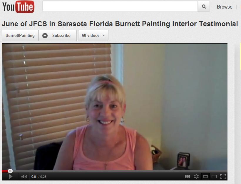 June from JFCS gives Burnett Painting Testimonial