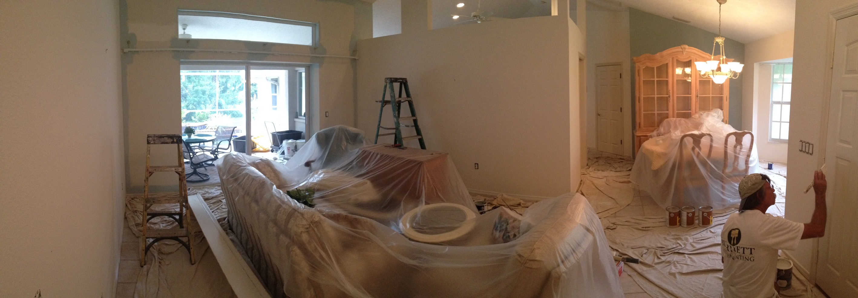 Interior Repaint Means Covering All Exposed Furniture