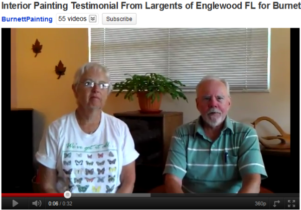Englewood, Florida painting testimonial of Burnett Painting