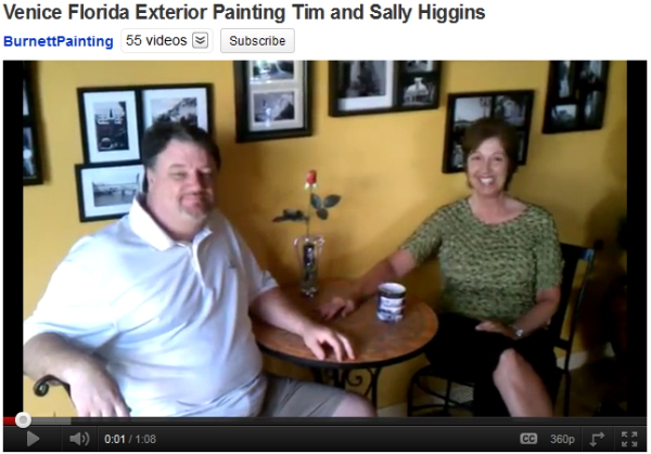 Venice, Florida painting testimonial for Burnett Painting