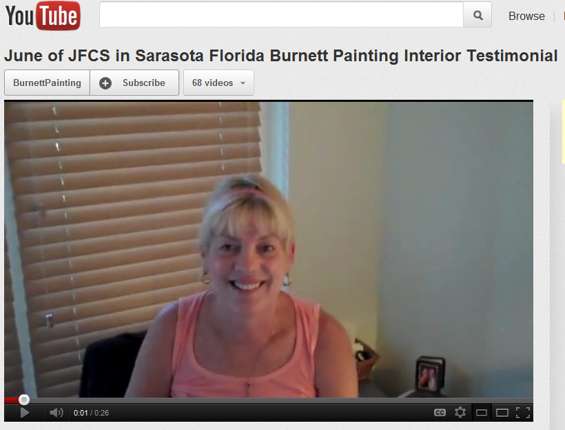 June from JFCS gives Burnett Painting Testimonial